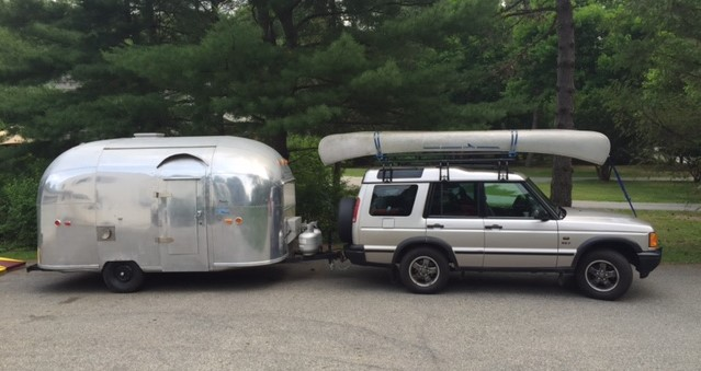 land rover with Airstream Bambi